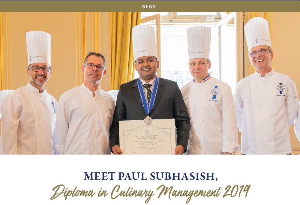 Meet Paul Subhasish, Diploma in Culinary Management 2019